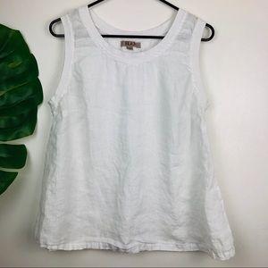 Flax 100% Linen White Tank Women's Size Med